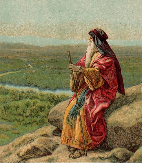 The Death of Moses, focusing on the great prophet in solitude, looking over the Land of Promise. He knows he is dying, but the LORD has shown him this as a great personal gift. Perhaps God left him there to stay as long as he liked. (The Providence Lithograph Company, 1907)
