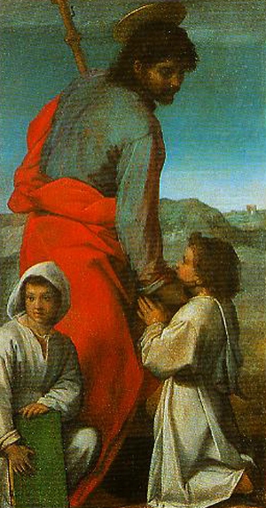 Andrea Del Sarto, 1529: St. James. He carries a walking stick as a reminder of the great Spanish pilgrimmage site in his honor at Compostela.