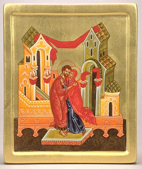Heiko C. Schlieper: Ss. Joachim and Anne. The Gospels tell us little about Mary's background, but by the second century curiosity about her was so great that a devout Christian sought to supply her with a backstory based on Old Testament narratives and traditions about the nativity of John the Baptist. In 550 the Emperor Justinian built a church for St. Anne in Constantinople, but she was unknown in the Western Church until the 1100's. (iconographer unknown)