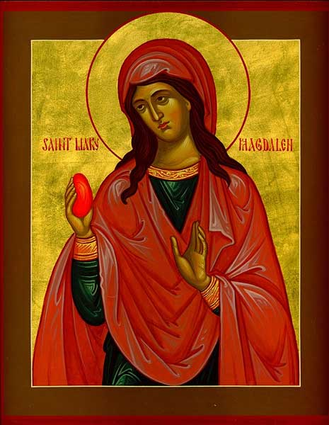 Mary Magdalene, first witness to the resurrection, is mentioned in all four Gospels. The Orthodox regard her as equal to the apostles. (iconographer unknown)