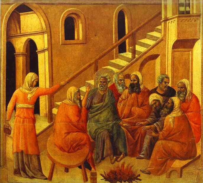Duccio di Buoninsegna: Peter Denying Christ. This is what we're like; this is the state of humanity. We're sinners and we might as well admit it - because God offers redemption if we repent and change our ways.
