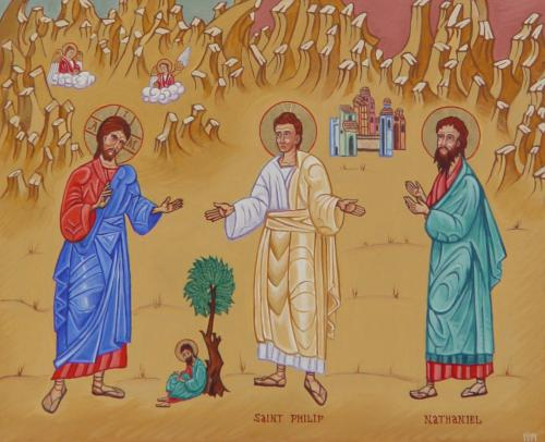 Jesus Calling Philip and Nathanael; notice the little guy under the tree. (iconographer unknown)