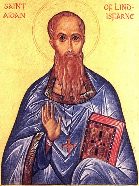 """Bede said of Aidan, """"He neither sought nor loved anything of this world, but delighted in distributing immediately to the poor whatever was given him by kings or rich men of the world. He traversed both town and country on foot, never on horseback, unless compelled by some urgent necessity. Wherever in his way he saw any, either rich or poor, he invited them, if pagans, to embrace the mystery of the faith; or if they were believers, to strengthen them in the faith and stir them up by words and actions to alms and good works."""" (Iconographer unknown)"""