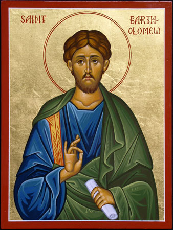 """We don't know anything about Bartholomew except that he is listed as one of the Twelve in the synoptic Gospels. He is sometimes equated with Nathanael, Philip's friend, the """"Israelite without guile"""" in John's Gospel. (Convent of St. Elizabeth)"""