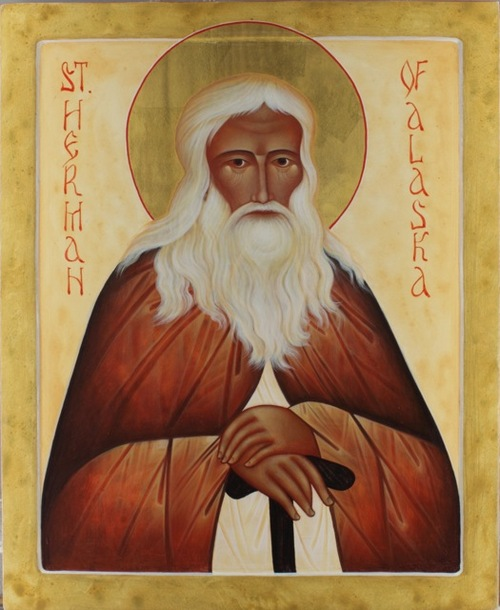 "Anna DuMoulin: St. Herman. After years as a monastic hermit, he gathered a small group for missionary work in Alaska, where he taught and defended the native people from European commercial exploitation. In time many came to him for wisdom and would stay up all night listening to him. Today the Russian Orthodox call him ""Wonderworker of All America."" He used to give all the kids biscuits and cookies."