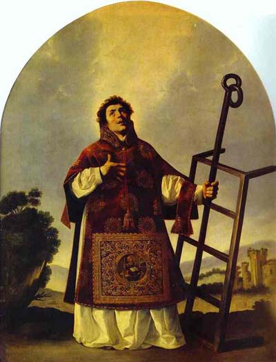 Francisco de Zurbaran: St. Laurence. The legend says he was roasted alive on a gridiron during a persecution under the emperor Valerian. A government official demanded the riches of the Church, so Laurence assembled the poor and needy.