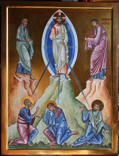 """Aidan Hart: Transfiguration. Here is a miracle that happened to Jesus, instead of his performing it for others. He took Peter, James and John and went up a mountain. There his appearance became dazzling white, and Moses and Elijah came to him. The voice of God came to the awe-struck disciples and said, """"This is my Son; listen to him."""""""