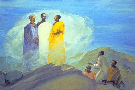 Jesus Mafa: Transfiguration. Peter, James and John went with Jesus to the top of a mountain, where Moses and Elijah appeared to him in the glory of the heavenly light. The three disciples were dazzled out of their senses, but Peter did keep it together long enough to suggest that he build booths or tents for the dignitaries.
