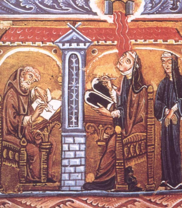 """Hildegard, a genius in many fields, was a """"Renaissance man"""" centuries before any men got around to it. Beginning in childhood, she received a series of dazzling visions, and at 43 a voice commanded her to tell what she saw. So began an outpouring of original writings, illustrated by wondrous illuminations like the one above."""