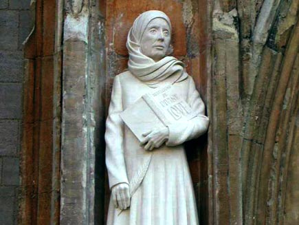 Margery Kempe experienced intense heavenly visions followed by bouts of depression. She was guided in her efforts by Dame Julian of Norwich. She made pilgrimages to Canterbury, the Holy Land and Santiago de Campostela, and  developed deep compassion for ths sins of humanity. (source unknown)