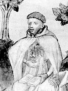 Richard Rolle, a Yorkshireman, became a hermit at 18, living alone on a squire's estate for about three years. After that little is certain about his life; he may have enrolled at the Sorbonne in Paris to study theology, and he may have been ordained. But he left behind a wealth of commentaries, meditations, essays and letters; he rivaled Chaucer in popularity, and his cult was still going strong, especially in the north of England, at the time of the Reformation. His shrine was destroyed during the Dissolution of the Monasteries. (source unknown)