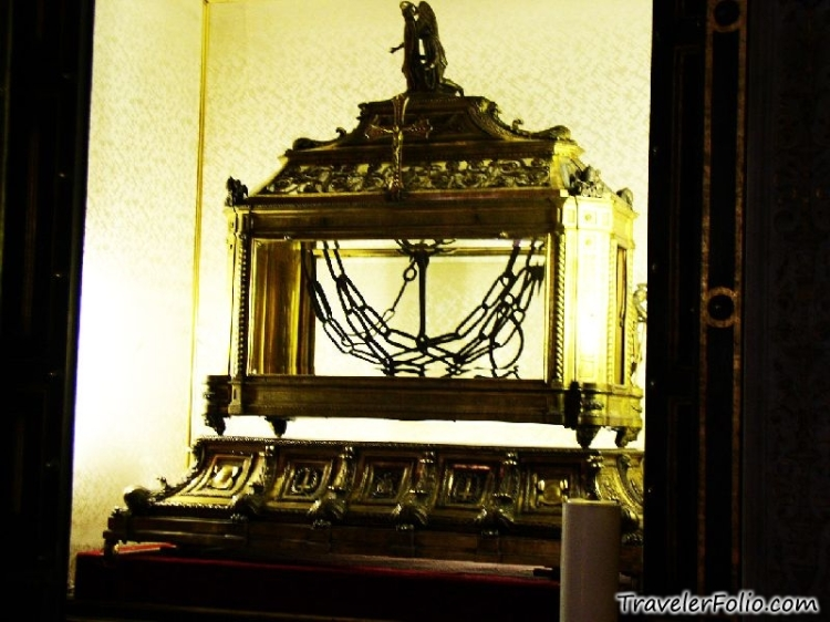 A supposed relic of the chain used on Peter, at the Basilica of St. Peter in Chains, Rome.