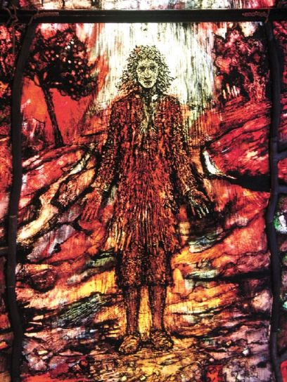 """Tom Denny: Thomas Traherne window at Hereford Cathedral, England. He was a priest and poet in the transition period between medieval certainty, about religion and other kinds of knowledge, and modern discovery and uncertainty. Samuel Johnson dubbed him one of the """"Metaphysical Poets."""""""