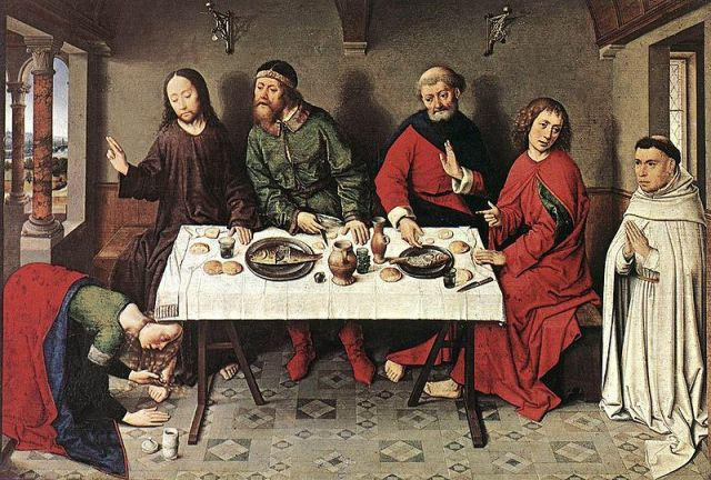 Dieric Bouts, c. 1440s: Christ in the House of Simon the Pharisee, with the woman anointing his feet in the lower left. Jesus was a critic of the Pharisees and Sadducees, but at no time did he exclude them; in this scene he went to have dinner with one. But they didn't get along with him.