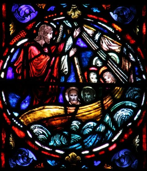 Jesus calms the sea; source unknown.