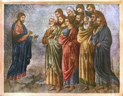 Jesus commissions the apostles. (unknown artist)
