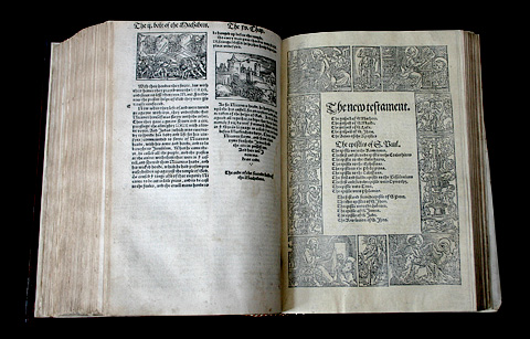 A first edition of Miles Coverdale's Bible, the first complete one in English, from 1535. Gutenberg first printed the Vulgate Bible with movable type 80 years earlier in 1455.