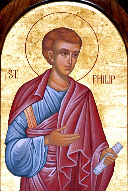 St. Philip the Deacon, after his conversion of the Ethiopian eunuch, settled in Caesarea, where he hosted St. Paul. Some sources say he eventually became Bishop of Lydia in Asia Minor. (iconographer unknown)
