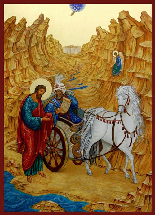 St. Philip the Deacon's most famous scene, baptizing the Ethiopian eunuch, by Ann Chapin. See the little angel blessing the proceedings.