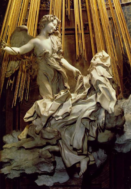 "Gian Lorenzo Bernini: The Ecstasy of St. Teresa. She is famous as a mystic who received fantastic visions, but there's more to her than that; she was a missionary and administrator who founded 17 convents of Reformed or ""discalced"" (barefoot) Carmelites, whose ascetic piety provided the framework she felt was necessary to enable the sisters to develop true faith."