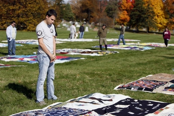 The NAMES Project AIDS Memorial Quilt, displayed a few years ago at Crown Hill Cemetery, Indianapoli. (Denise Kenon/The Indianapolis Star)