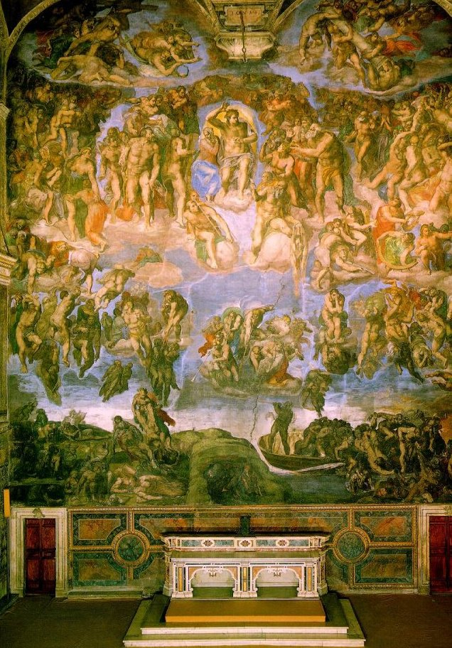 Michelangelo, 1541: Last Judgment. His famous frescoes on the ceiling of the Sistine Chapel were completed 20 years earlier; as you can see, this beautifies the altar wall.