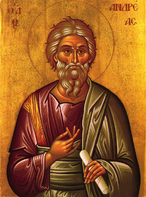 Andrew, Peter's brother, was the first apostle called by Jesus. The historian Eusebius reports that Andrew went to Scythia in Asia Minor to conduct his mission, and this icon honors him as the First Ecumenical Patriarch of Contantinople. He is also considered the patron saint of Scotland, after an ancient king invoked his aid in battle against the Angles.