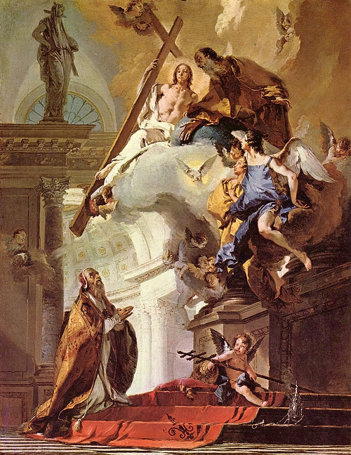 Giovanni Battista Tiepolo: St. Clement Adoring the Trinity. Clement was the third pope, whose letter to the Church in Corinth first described the clergy and people as forming a hierarchy, by which the authority of the bishops and presbyters had to be respected. Young leaders in Corinth tried to oust the older ones, but the bishop put a stop to it.