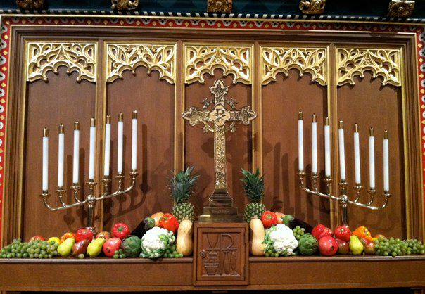 The altar at Christ Church + St. Michael's Parish in St. Michael's, Maryland, dressed for Thanksgiving Day, 2011. This is a major feast day, not only in homes and community centers, but in The Episcopal Church; thousands of parishes will be open for services today. (William Thomas)