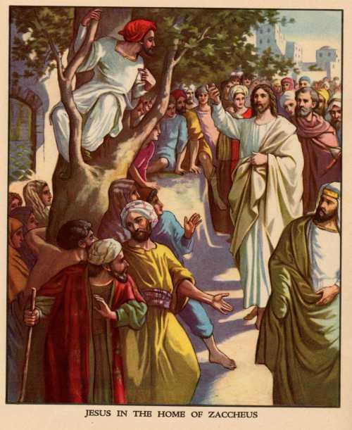 Generations of children have learned about Zaccheus climbing the tree, but the lesson is about Christ's coming into the world to save sinners. (Providence Lithograph Company?)
