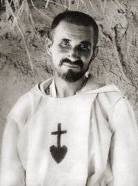 Foucauld lost his faith as a young man until he traveled to Morocco and encountered devout Muslims, which put him on a quest to discover his own spirituality. He joined the Trappists, became a priest with the poor Clares, and moved to the Sahara Desert, where he developed a ministry of presence. He was killed by marauding Bedouins as part of the general uprising against French colonialism in Algeria.