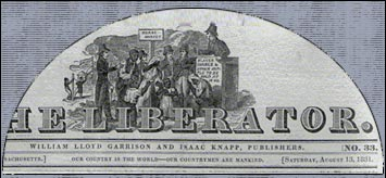 Nameplate of William Lloyd Garrison's abolitionist newspaer The Liberator, which featured numerous essays by Maria Stewart. She was a freeborn African-American writer, speaker and teacher, later the Head Matron of Freedom's Hospital in Washington, D.C., which became the renowned Howard University.