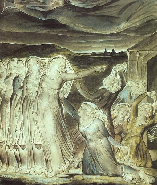 William Blake, 1822: Parable of the Wise and Foolish Virgins. Waiting for the master's return is the greater point of Advent. (Tate Gallery, London)