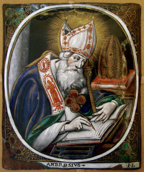 Ambrose wasn't even baptized when he was elected Bishop of Milan; he was there to mediate riotous factions, and did it so well they picked him. He was a defender of orthodoxy and introduced antiphonal chant to the liturgy. (artist unknown)