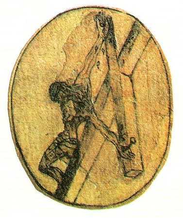 St. John of the Cross's own sketch of the Crucifixion, seen from above, according to a vision he received. In 1951 surrealist painter Salvador Dali, who was Spanish like the saint, produced his own version of John's vision, also based on a dream of the artist's.