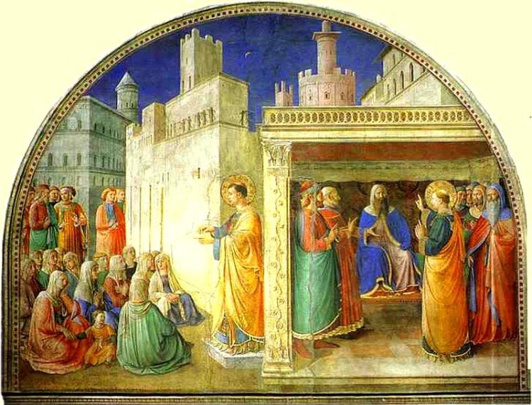 Fra Angelico, c. 1447: St. Stephen Addressing the Council. He was put to death by Temple authorities because he was an eloquent preacher and evangelist.