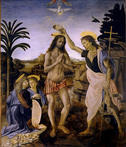 Baptism of Christ, by the Workshop of Andrea del Verrochio, including Leonardo da Vinci. This event signals the importance of baptism, so central an act in our faith experience that Christ himself participated in it with the help of his cousin John. The washing is a liturgical or ritual act meant to signify a change of life. Jesus didn't need the washing; he was telling us that we do.