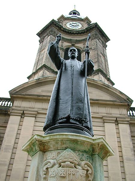 Statue of Bishop Charles Gore at St. Philip's Cathedral, Birmingham, England. He founded the Community of the Resurrection for men, was a proponent of social justice and sought to open the Church to modern Biblical scholarship.