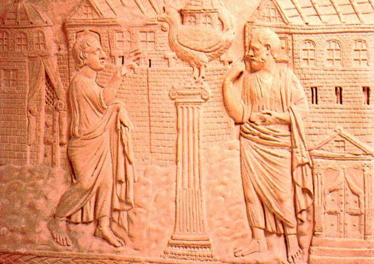 4th Century bas-relief of St. Peter's confession - that Jesus is the Christ. (Vatican Museums)