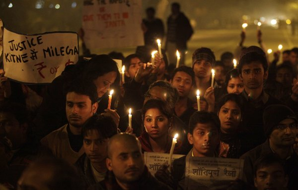 A vigil in New Delhi after the rape and murder of Nida Kaul Mehra. This violence against women has got to stop. (Andrew Caballero-Reynolds/Agence France Presse-Getty)