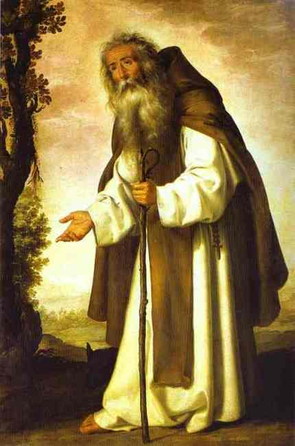Antony lived as a solitary ascetic in a cave for 20 years. He wrote a Rule, and in 305 he was moved to begin a kind of monastery. Young men lived in tents nearby, singing, fasting, praying and giving alms. (artist unknown)