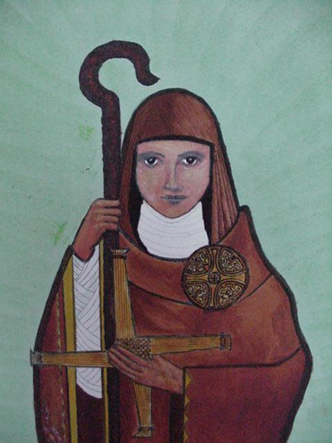 """St. Brigid of Kildare, Ireland established a """"double"""" monastery of men and women; in time a city grew up around it. She participated in Church governance as an abbess equal to a bishop, or as a bishop herself; the offices were largely the same. With St. Patrick she is one of Ireland's most beloved saints, and is greatly esteemed in England, Scotland and Wales. (artist unknown)"""