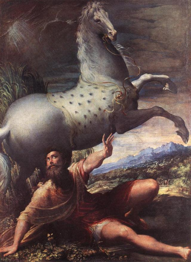 Parmagianino: Conversion of St. Paul. He must have been terrified - but he was wise enough to begin an immediate fast.
