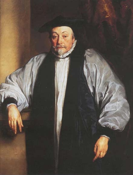 Studio of Anthony Van Dyck: William Laud. He's been honored as a martyr and condemned as an intolerant bigot - a rigid High Churchman in the age of Charles I. Cromwell's Long Parliament put him to death, but he stood up for the king and what he considered the unbroken catholic faith.