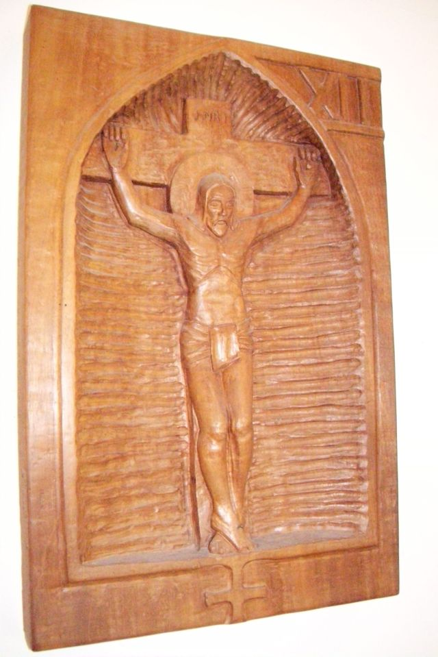 Station 10, Crucifixion, at Church of St. John Baptist, Thomaston, Maine, USA. (Josh Thomas)