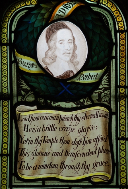 Charles E. Kempe, glass artist, at West Kirby Church in Cheshire: let your eye translate the anachronistic spelling and S's that look like F's, to get at what the priest is thinking as he labors, prays and looks around his little country church. (Photo: Philip Collins)