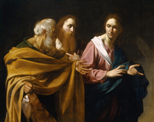 Caravaggio, 1500: Jesus Calls Peter and Andrew. The account in John's Gospel connects it to John the Baptist's testimony to his own disciples, of whom Andrew was one; he went and found his brother Peter and they began to follow Jesus. Mark's Gospel has Jesus walking along the beach and meeting them on his own.