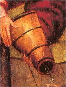 Wineskin, typically made of leather or goatskin; detail of a larger unidentified painting by an unknown artist.
