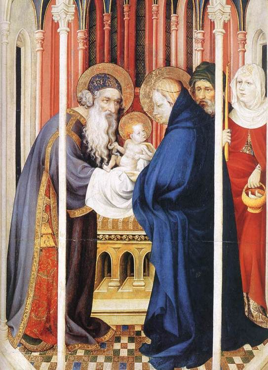 Melchior Broederlam: Presentation of Christ. The priest who received the baby Jesus was named Simeon, whose song, the Nunc dimittis, hails this child as Savior.