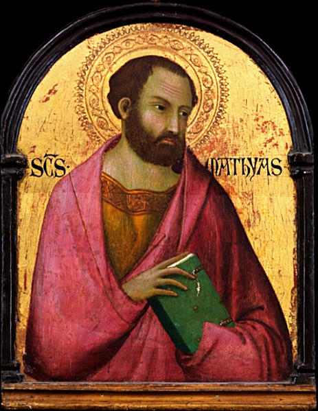 "Workshop of Simone Martini, c. 1317-19: St. Matthias, the apostle chosen to replace Judas Iscariot, and thus the first in ""apostolic succession."" (Metropolitan Museum of Art, New York)"